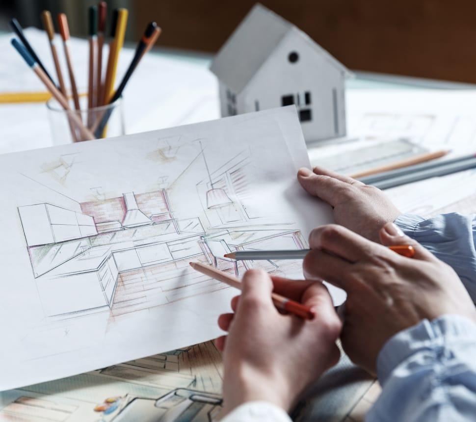 Zeichnung einer Küche