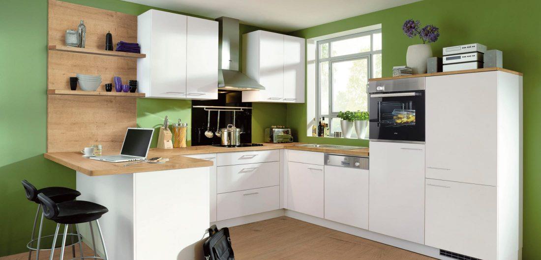 praktische Singleküche grün