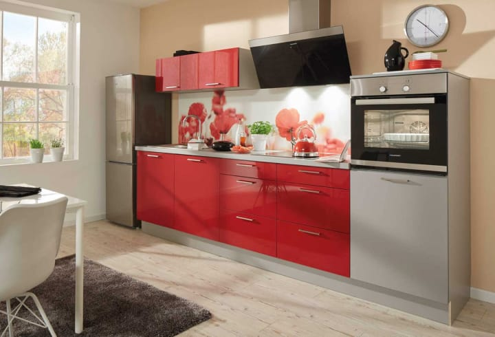 praktische Singleküche rot